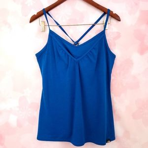 The North Face Blue Built in Bra Crossback Tank